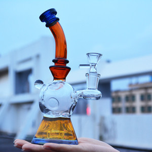 8 inch glass bong fab egg glass water pipe white amber heady glass dab rig cool unique recycler oil rig with quartz banger