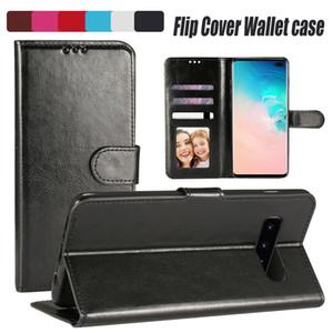 Caja de cuero de la caja Para IPhone12 XS Max XR S10E PU con ranura para tarjeta cubierta del tirón para Samsung S8 Note9 bolso de OPP