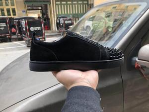 Дизайнерская обувь Красное дно низкий вырез замши Спайк повседневная обувь свадьба Кристалл кожаные кроссовки платье обувь