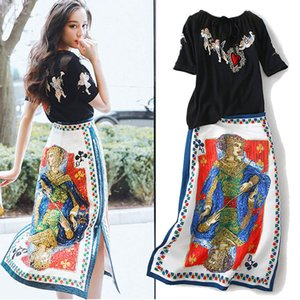 Piste 2019 2 Pièce Femmes Broderie Blouses Tops Et Vintage Rétro Imprimé Floral Paillettes Élégantes Dames Parti Jupe Costumes NS960