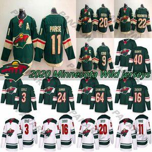 2020 Minnesota Wild 11 Zach Parise 16 Jason Zucker 22 Nino Niederreiter 40 Devan Dubnyk 64 Mikael Granlund Hockey jerseys