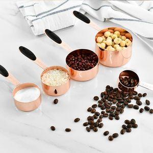 Измерение чашки из нержавеющей стали покрынной меди розовое золото Кухонные принадлежности Выпечка барменом мерная ложка Приготовление Инструменты Set