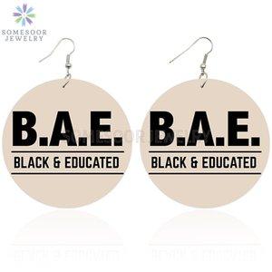 SOMESOOR 6CM плоские круглые Printed BAE Черный Образованный Африканский деревянные серьги падение Afro Strong поговорки Дизайн мотаться для женщин Подарочные
