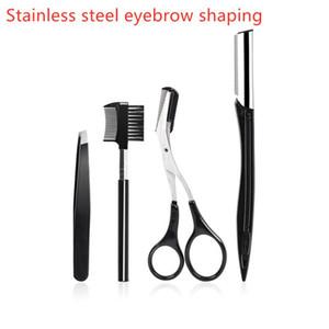 Free shipping !Stainless Steel Eyebrow Scissor 4pcs set 3d Mink Eyelash Tweezers Eyelashes Curler Set Hair Trimming Makeup Scissor