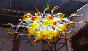 Hanging decorativa Pendant LED Lighting Luz Hot Sale Mini Cristal Bolha Chandelier Modern Mão Blown Art Glass pequeno Chandelier