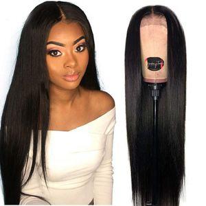 Парик фронта Pre щипковых шелковистой прямой парики фронта шнурка Синтетический средняя часть Мода черный Женщины жаропрочных Natural Long Black Full Lace