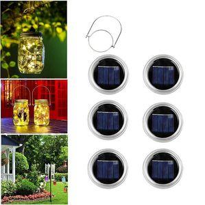 20 LED Luz Cordas Solar Para Mason Jar tampa Cor Inserir Alterar Jardim impermeáveis Decorações de Natal 6pcs OOA7051-1 / set