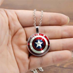Kadınlar Erkekler kolye kolye Cam Kubbe Takı Aksesuar Avengers Kaptan Amerika Shield Salkım zdl0410.