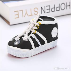 Обувь для собак маленьких щенков Чистка натурального латекса игрушка Pet Укусы сопротивление с Shoelace Black Orange Hot Sales 5 2meC1