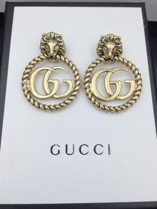 Top Luxus Design-Ohrringe für Frau, die klassische Alphabet Ohrringe Lion Gold Ohrringe Top Copper Fashion Versorgung