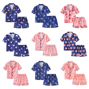 Summer Bambini Simulazione Pigiama di seta Set Set Set sottile Carino Nightwear Stampato Pantaloncini a maniche corte Sleepwear Cartoon Home Vestiti in due pezzi M1516