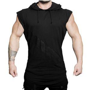 YEMEKE 2019 in cotone senza maniche con cappuccio da uomo Bodybuilding Workout canotte muscolari Camicie Fitness modo maschio
