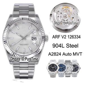 Nova edição Melhor Edição ARF V2 Datejust 41mm 126334 904L Caso de Aço Prata Dial ETA A2824 Mens automático Assista Jubileu Pulseira Relógios Puretime 03