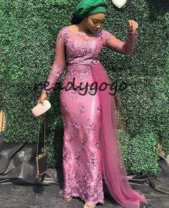 Asoebi styles Mermaid Evening Formal Dresses with Side Ribbon 2019 Rose Pink Lace Stain Jewel African Nigerian Prom Dresses Plus Size