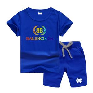 BLSG punto del frumento di lusso Logo Designer Bambini Imposta baby ragazzi e ragazze Ragazzo infantile del bambino abiti firmati 2pcs / set Insiemi di cotone estate brevi