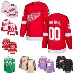 Hombres Niños Mujeres Moritz Seider Jersey Detroit Red Wings Andreas Athanasiou Hockey Tyler Bertuzzi Anthony Mantha Frans Nielsen Rojo Blanco Camo
