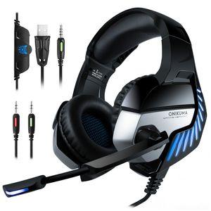 ONIKUMA K5 PRO PS4 / PC için Mikrofonlu Stereo Bass Surround Gaming Headset Kulaklık LED