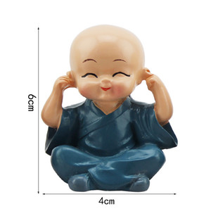 4Pcs / Set-Auto-Dekor ittle Monk für Hauptdekorationen Figur Buddha Monk Statuen Resin Crafts Auto Desktop-Ornamente Home Office Dekoration