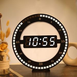 Orologio da parete circolare fotosensibile LED Digital di disegno moderno a duplice uso attenuazione digitale di orologi per la decorazione domestica US SPINA T200104 UE