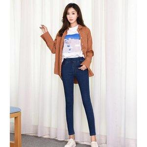 Woman High Waist Jeans Plus Size Skinny Black Blue Pocket Denim Pencil Pant