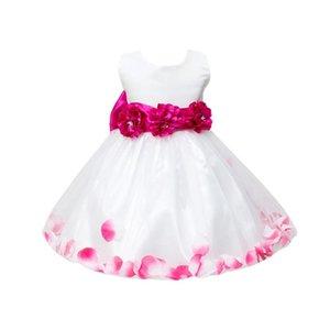 Лето Платье Rose Petal Хем девушки платье без рукавов Симпатичные свадьба Детские платья