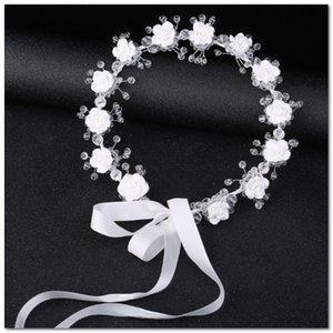 Bridal crystal white wedding flower crown girls stereo flowers ribbon Bows princess wreath children's day party garland hair accessory J2891