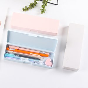 Frosted Plastic Pencil Case Simple Macaron Color Pens Storage Box Stationery Office Supplies