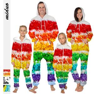 Eltern-Kind-Kleidung Kinder Kostüm Galaxy Starry Printed Nightwear Kinder lose Eltern-Kind-Overall Reißverschlüsse mit Kapuze Strampler LJJK1850