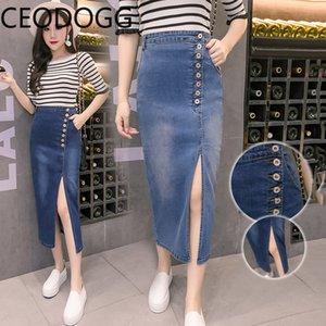 Ceodogg S-2XL de alta Cintura Cadera de Split Diseño dril de algodón de la falda atractiva de las mujeres del botón Diseño Derecho Jupe Femme verano delgado ocasional Faldas