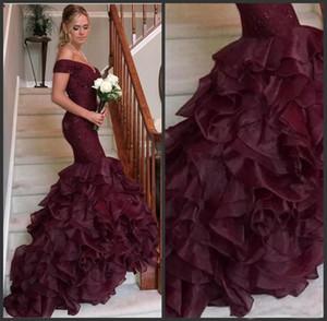 Dark Purple Sweep Train Lace Sequin Organza Mermaid Prom Dresses 2019 Off The Shoulder Vestidos de noche Black Girl Vestidos de fiesta a medida