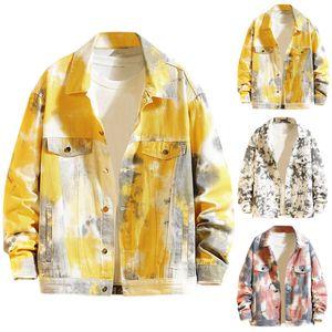 Homens Jacket 2019 Street art tie-dye Masculino jaqueta casual Brasão AutumnWinter manga comprida Único Breasted camisola Outwear
