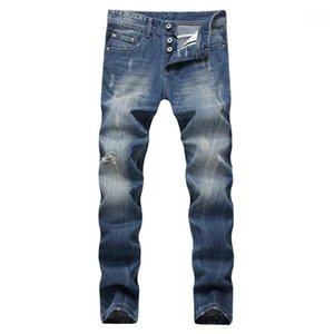 Мужские джинсы Середина талии Regular Омывается Zipper Fly Мужские джинсы Мужчины Одежда Light Blue Straight Long