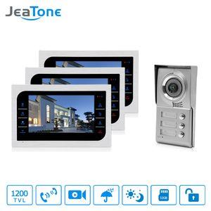"JeaTone 홈 보안 비디오 인터콤 시스템 10 ""LCD 비디오 도어 폰 터치 키 패널 IR 홈 비디오 Doorbell 3-Apartments"