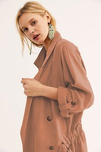 Women's Trench Coats Outerwear Clothing Autumn jacket Green orange new solid color short Polo windbreaker coat nine sleeve fashion wear