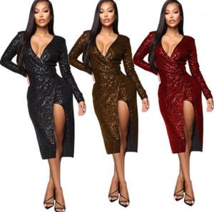 Robe à manches longues Casual femmes Robes sexy Femmes Robes Designer Fashion Plaid imprimé à col bénitier