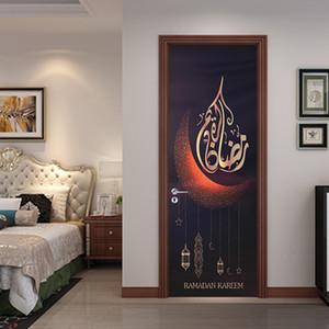 2 Pcs / Set Mousseline Style Porte Stickers Sticker Mural Islamique pour Chambre Salon Décoration Papier Peint Affiche PVC Étanche Decal