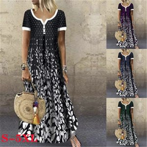 Designer Women Dress Summer Printed Small V Neck Casual Dress Fashion New Short Sleeved Candy Color Dresses Plus Size 5XL
