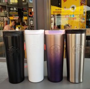 최근 16 온스 스타 벅스 스테인레스 스틸 보온병 컵 14 개 스타일 나선 그라데이션 사무실 컵 커피 잔 지원 사용자 정의 로고, 무료 배송