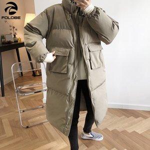 FOLOBE 2020 Brasão Parka Jacket Maxi Longo Inverno Loose Women Feminino Lady Windbreaker Overcoat Outwear Roupas