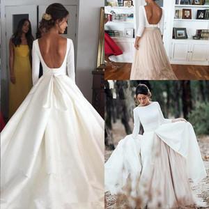 Платье Классический с длинными рукавами сатин Boho Свадьба со съемной юбкой 2020 Modest Backless Princess Венчание Свадебные платья