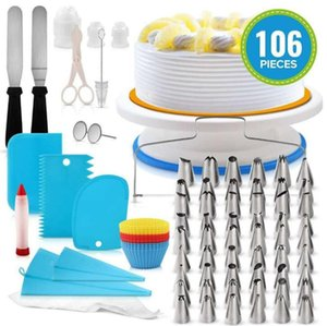 106pcs set Cake Turntable Set Cake Decorating Kit Pastry Tube Fondant Tools Kitchen Dessert Baking Non-slip turntable GGA3079-6