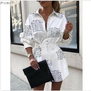 Sexy Ladies Turn Down Collar Polyester Autumn Dress New Print Long Sleeves Buttons Mini Dresses Fashion Female Casual Short Shirt Vestido