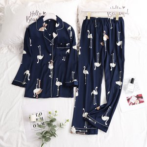 Silk Pijama Mujer Sleepwear Pyjamas Flamingo Pajamas for Women Nightwear Satin Loose Sleep Lounge 2019 Autumn Homewear Y200708