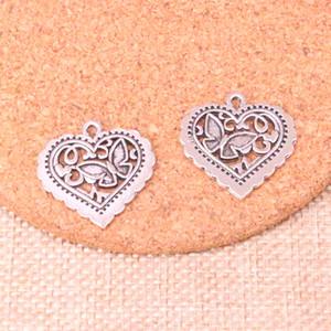 57pcs очаровывает сердце бабочки 25 * 24мм античная Изготовление кулона в форме, Vintage тибетский серебро, DIY Украшения ручной работы