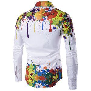 2019 New Arrival European Style Men 3D Printed Shirt Men Fashion Shirt Pattern Design Long Sleeve Paint Color Print Slim Men Casual Shirt