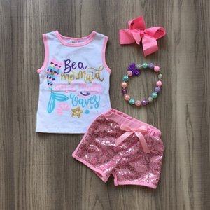 baby girls summer new arrival outfits mermaid sequin short outfits with bow and necklace.