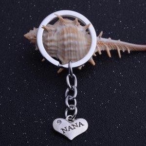 12PC Сердце Шарм Подвеска Keychains Нана Сердце Кристалл Keyrings семьи Любовь бабушки День рождения Подарки сумка брелок Горячие