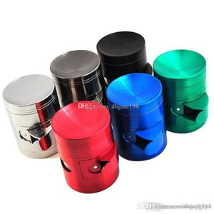 custom 40mm 50mm 55mm 63mm 4layer side open cut tobacco grinder metal zicn alloy plat or Concave herb grinder for smoking dry herb