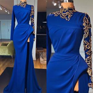 2020 Yeni Royal Blue Mermaid Abiye Yüksek Yaka Uzun Kollu Yan Bölünmüş Altın Aplikler Balo Abiye Arapça Özel Durum Parti Elbise