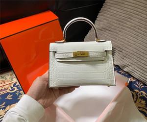 Bolsas de ombro Big Marca Mulheres Totes com fechadura Lady couro Alligator Genuine Mini Moda Handbag Designer Luxo Crossbody Bag 19 centímetros